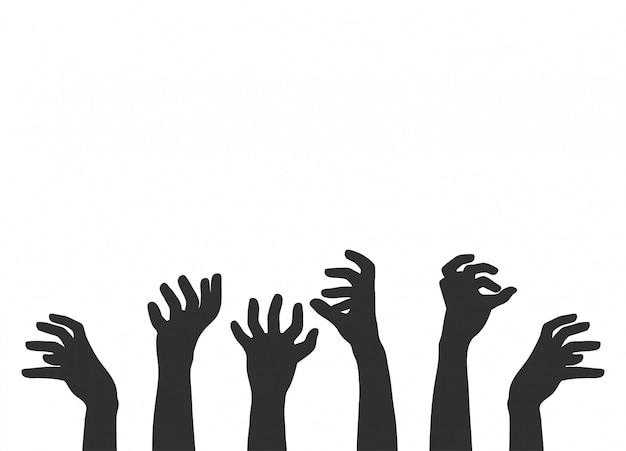 Handen op wit, zombiethema,