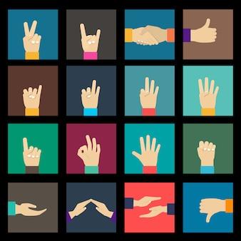 Handen pictogrammen instellen