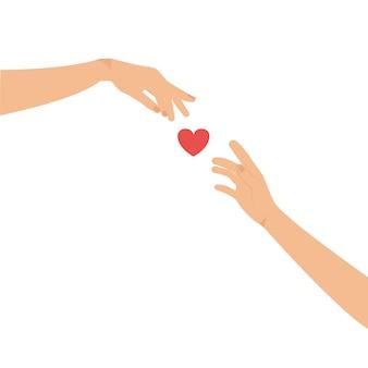 Handen reiken naar elkaar en een hart tussen hen in love vector graphics