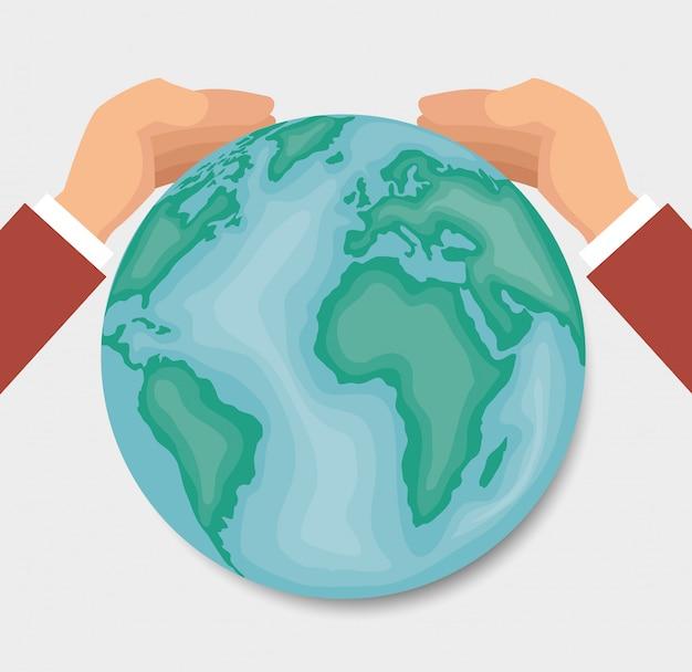Handen rond van de wereldontwerp