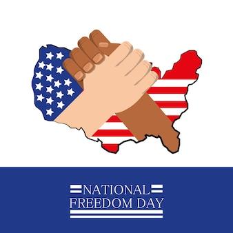 Handen samen met vlag die nationale vrijheidsdag vieren