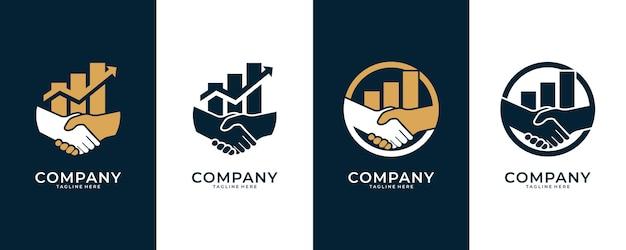 Handen schudden en logo-ontwerp op niveau, goed gebruik voor logo voor financieel en zakelijk advies