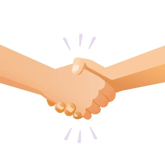 Handen schudden handdruk vector of vrienden handbewegingen geïsoleerd gebaar platte cartoon illustratie moderne clipart