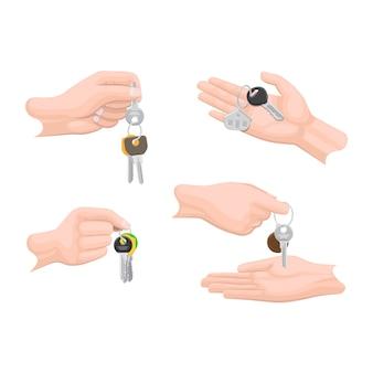 Handen sleutels doorgeven aan een andere set menselijke armen.