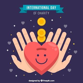 Handen, smiley hart en munten met vlak ontwerp