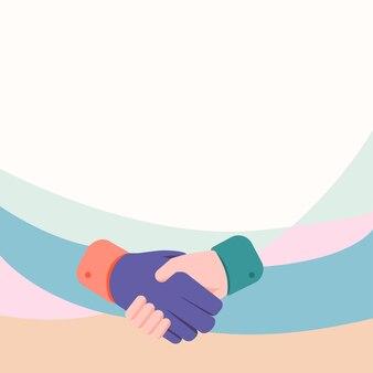 Handen tekenen in handdrukpositie met dealovereenkomst en begroeting palmontwerp hand schudden