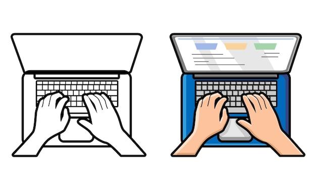 Handen tekst typen op het toetsenbord van de laptop kleurplaat voor kinderen