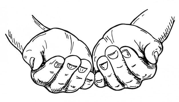 Handen tot een kom gevormd. schets illustratie op witte achtergrond. handgebaar