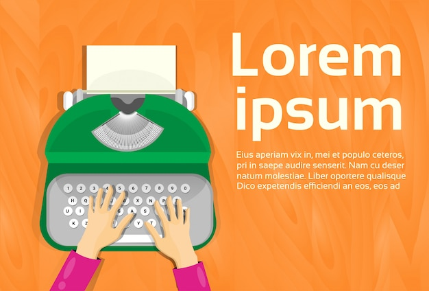 Handen typen op vintage typewriter top hoekmening. tekstsjabloon