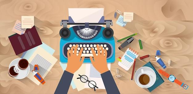 Handen typen tekstschrijver