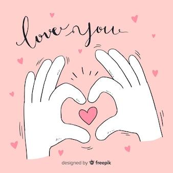 Handen valentijnsdag achtergrond