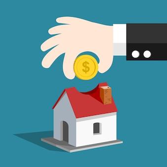 Handen van gelddalingen in besparingen die huisvector zijn.