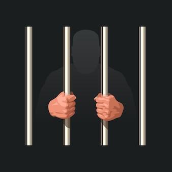 Handen van gevangene met metalen staven op duisternis