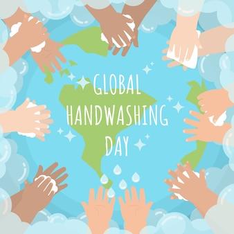 Handen van kinderen die over de hele wereld wassen met zeepbel voor wereldwijde handwasdag