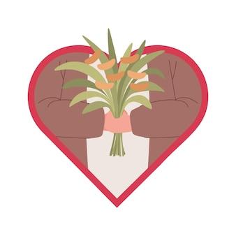 Handen van man met boeket bloemen vector vlakke afbeelding