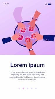 Handen van mensen die donuts uit de illustratie van het cirkeldienblad nemen