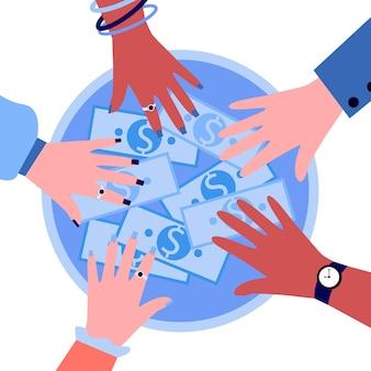 Handen van mensen die geld uit cirkelvorm nemen