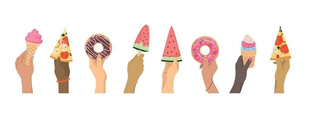 Handen van verschillende nationaliteiten houden lekkers vast: pizza, donuts, ijs, watermeloen.