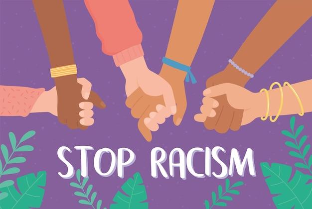 Handen van verschillende rassen die bij elkaar blijven om racisme te stoppen