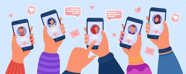 Handen van volwassen mensen die dating-app gebruiken. vlakke afbeelding