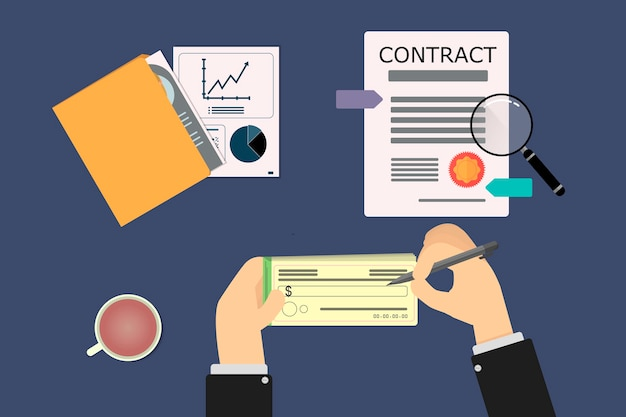 Handen van zakenman ondertekening van een cheque bij het sluiten van het contract