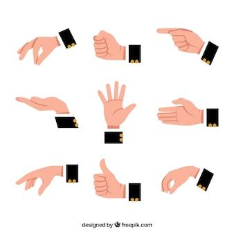 Handen verzamelen met verschillende poses in platte syle