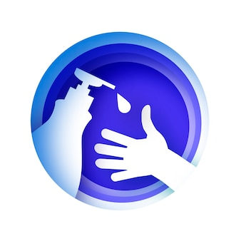 Handen wassen. dagelijkse persoonlijke verzorging. was uw handen in papierstijl.