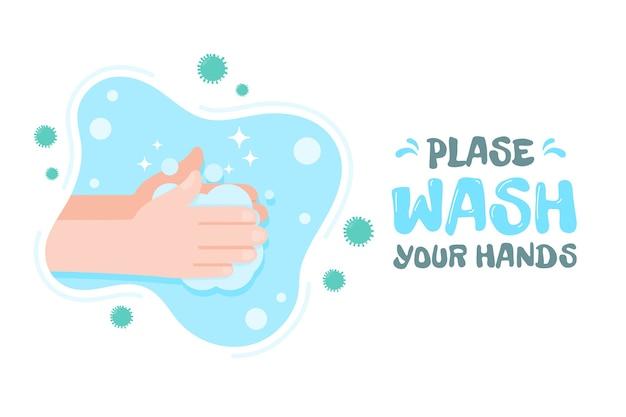 Handen wassen met water en zeep om virussen te doden.