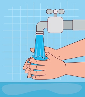 Handen wassen met waterkraan ontwerp, hygiëne wassen gezondheid en schoon