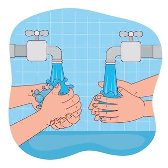 Handen wassen met waterkranen ontwerp, hygiëne wassen gezondheid en schoon
