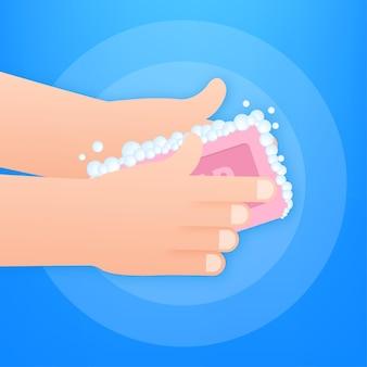 Handen wassen met zeep. gezondheidszorg. coronavirus preventie. persoonlijke hygiëne. vector stock illustratie