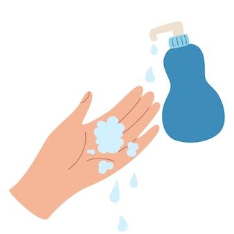Handen wassen met zeep handen tekenen met waterbellen en ontsmettingsmiddel hygiëne gezondheid