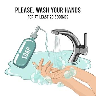 Handen wassen met zeep minstens 20 seconden