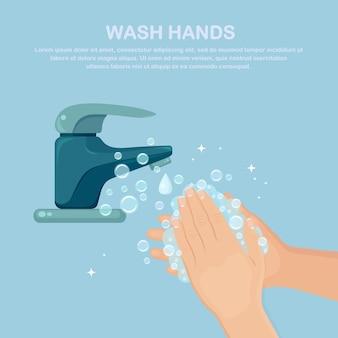 Handen wassen met zeepschuim en waterkraan.