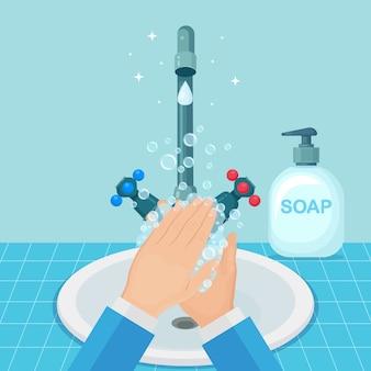Handen wassen met zeepschuim, gelbellen. waterkraan, kraan lek. persoonlijke hygiëne, dagelijkse routine