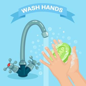 Handen wassen met zeepschuim, scrub, gelbellen. waterkraan, kraan lek. persoonlijke hygiëne, dagelijkse routine. schoon lichaam.