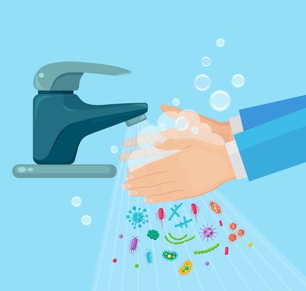 Handen wassen met zeepschuim, scrub, gelbellen. waterkraan, kraan lek. weg met ziektekiemen, bacteriën, microben, virussen.
