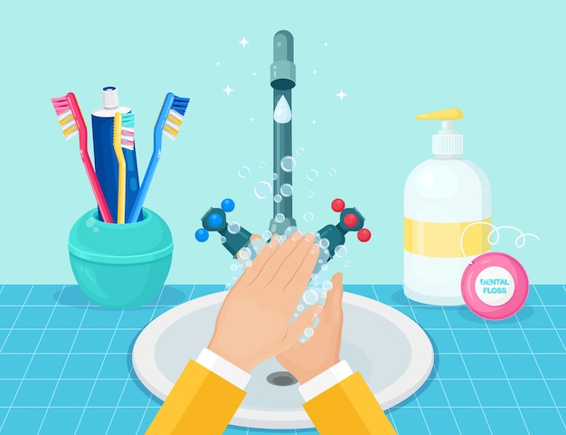 Handen wassen met zeepschuim, scrub, gelbellen.