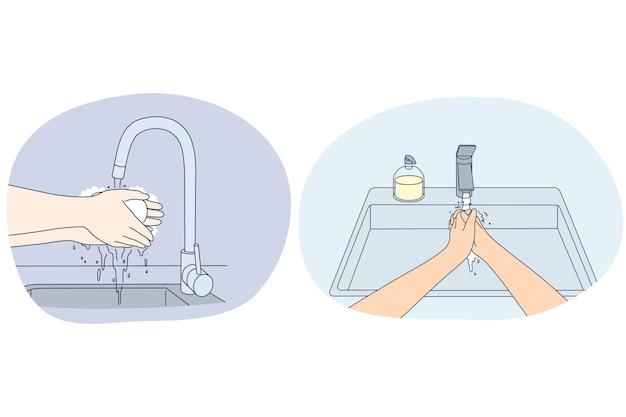 Handen wassen, persoonlijke hygiëne en bescherming tegen virusconcept.
