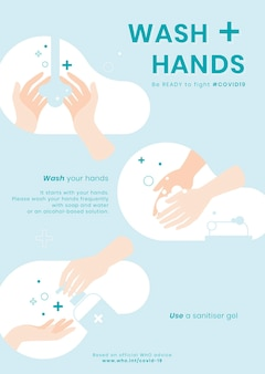 Handen wassen stappen in kleurrijke afbeelding