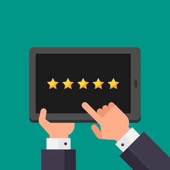 Handen zakenman wijst naar tablet met rating vijf sterren. vectorillustratie. mensen uit het bedrijfsleven.