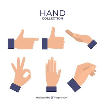 Handencollectie met verschillende poses in vlakke stijl
