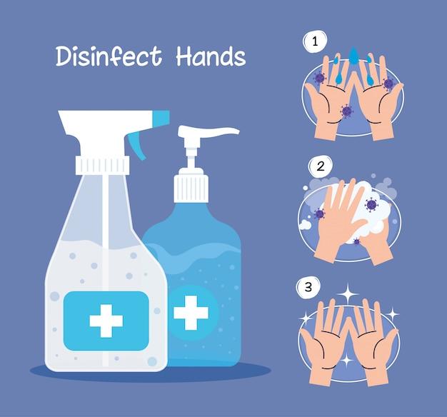 Handendesinfecterende flessen en handen die stappen wassen