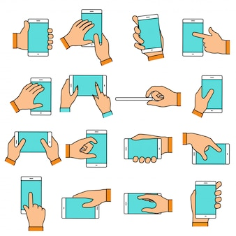 Handgebaar op het aanraakscherm. handen met smartphone of andere digitale apparaten. lijn pictogrammen instellen met platte ontwerpelementen.
