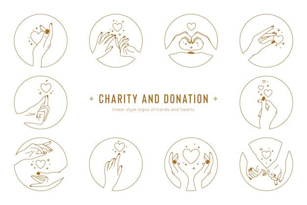 Handgebaren en hand in hand set logo sjabloon liefdadigheid en donatie logo's in lineaire stijl