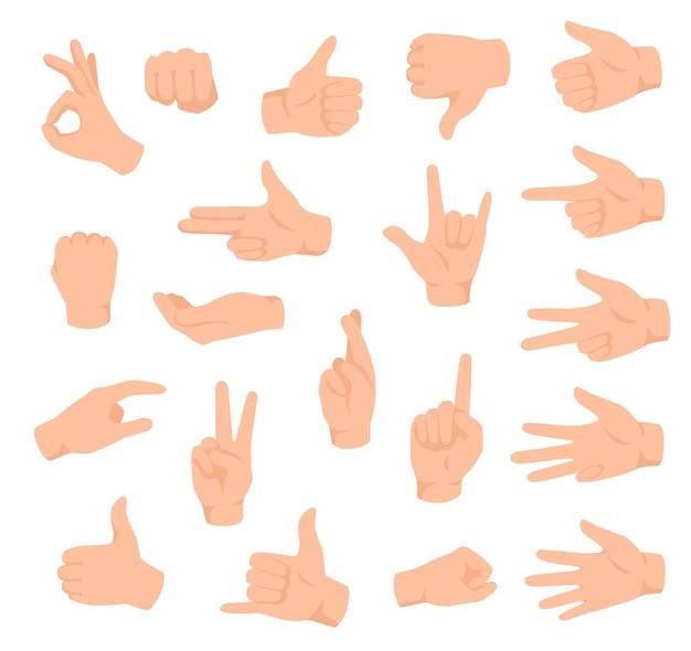 Handgebaren. mannenhand met verschillende teken. ok, overwinning en leuk, niet leuk. tellende vingers platte set