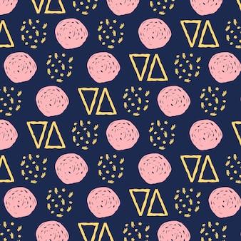 Handgekrabbel naadloos patroon in blauwe en roze tonen