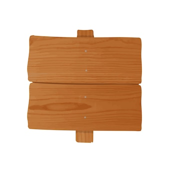 Handgemaakt houten bord en paal aan elkaar genageld. leeg bord of wegwijzer geïsoleerd