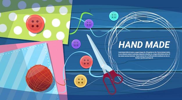 Handgemaakt kunstwerk handwerkproducten creatieproces bovenaanzicht