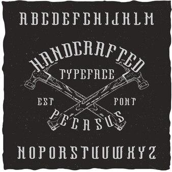 Handgemaakt 'pegasus'-lettertype met de handgetekende choppers.